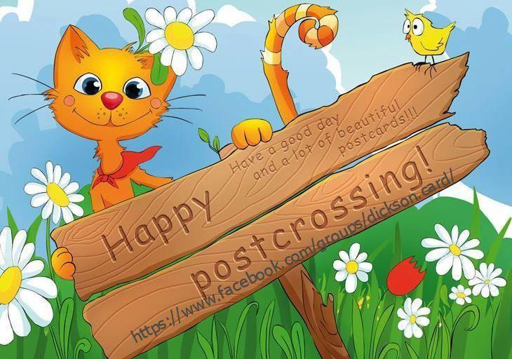 Happy Postcrossing with cat