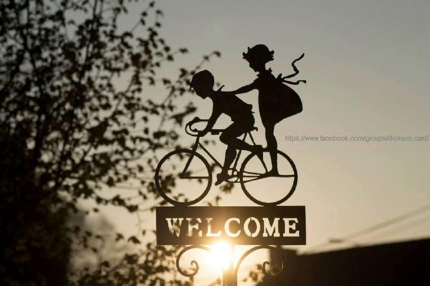 Children on bicycle, b / w