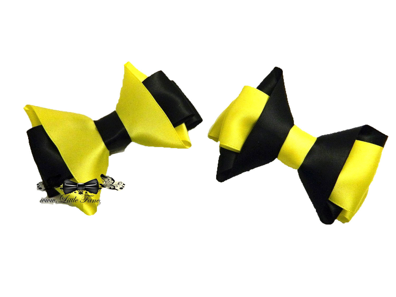 Black - Yellow Bumble Bee Hair Bow Set of 2