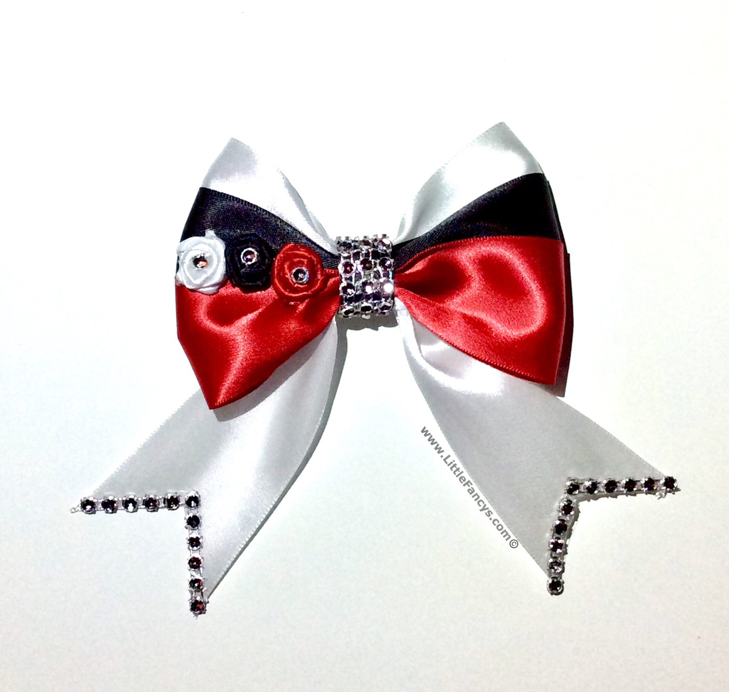 Red White and Black Cheer Bow