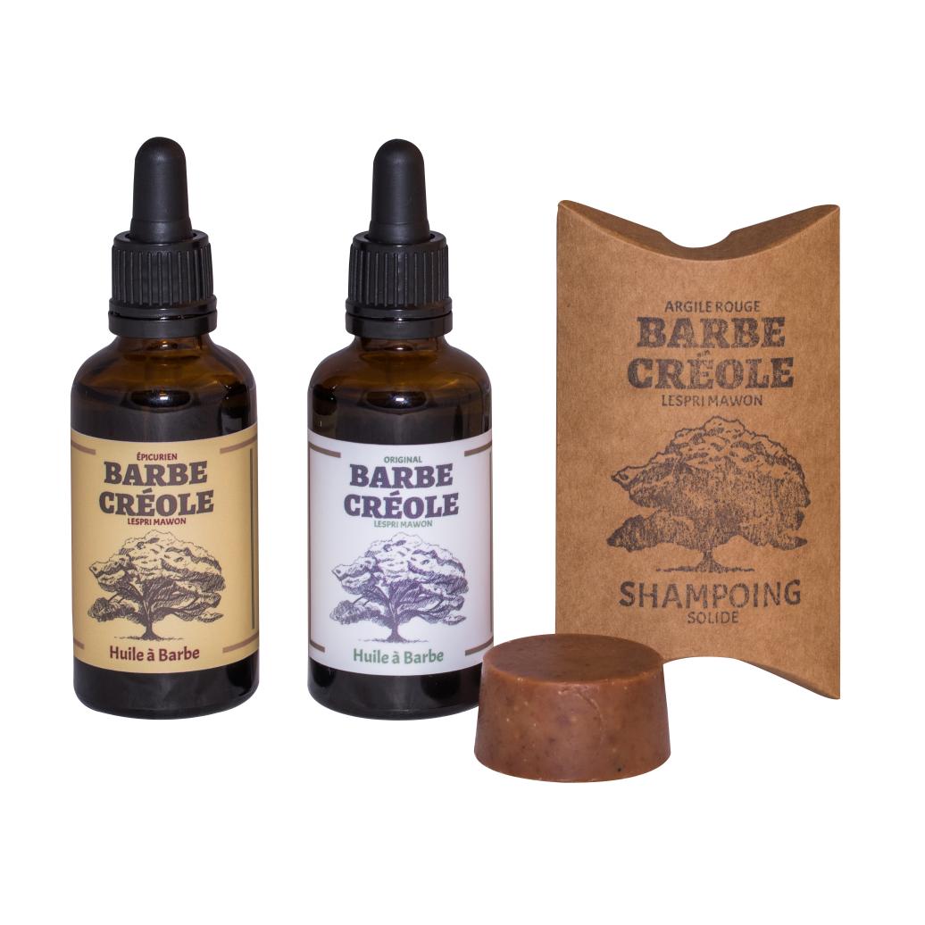 Lot de 2 Huiles à barbe - Original/Épicurien + 1 Shampoing solide pour Barbe - Argile Rouge