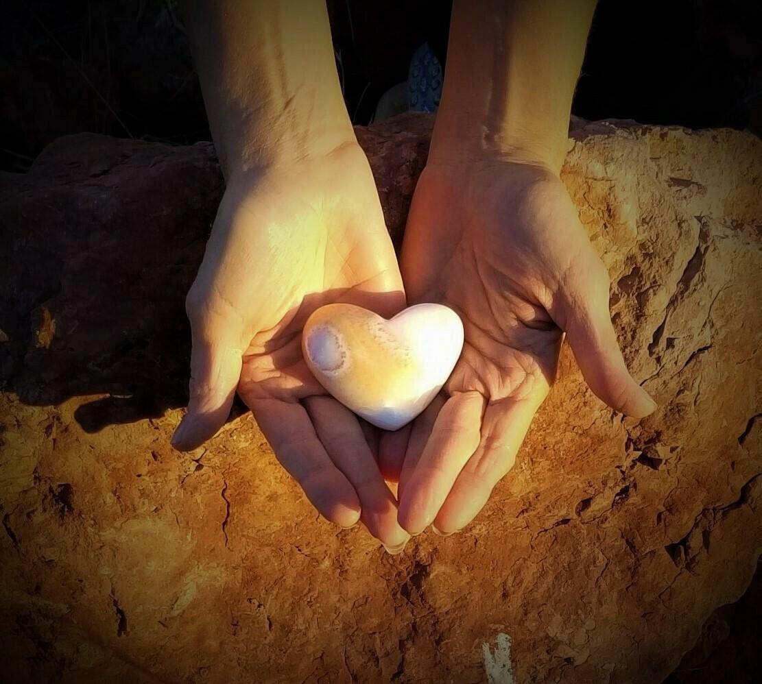 White Light Gold  Holding Heart Healer Sedona Crystal Mother Earth Holding Heart