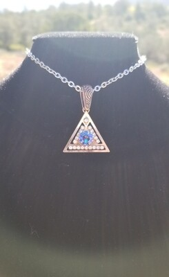 Blue RADIANCE Swarovski Crystal {Pyramid of Light Pendant} with Sedona White light Crystals/May Day Sale $113/$313.00