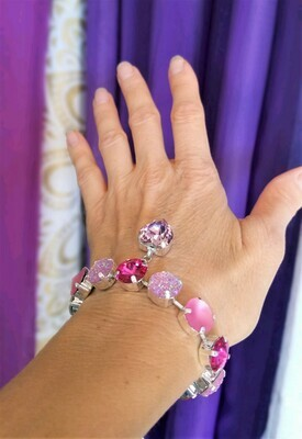 Gorgeous Heart of the Rose Ray/Devic Crystal LOVE Bracelet $144/$188 Retreat Sale
