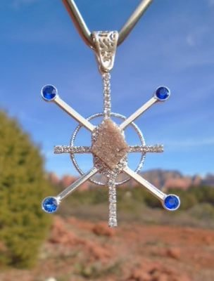 Sale $288/333.00Gorgeous BlueRay Sapphire Star Resonator with Sedona Star family druzy crystal center