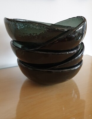 Black Fused Glass Bowl