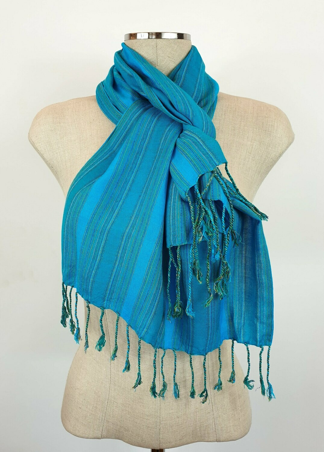 Turquoise & Teal Wide Stripes Small Scarf