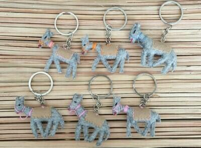 Donkey with Beige Saddle-Rug Keychain