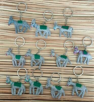 Donkey with Green Saddle-Rug Keychain