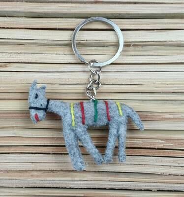 Donkey with Embroidered Saddle-Rug Keychain