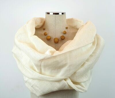 Linen Shawl: Off-White