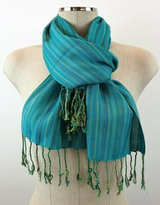 Turquoise & Teal Thin Stripes Small Scarf