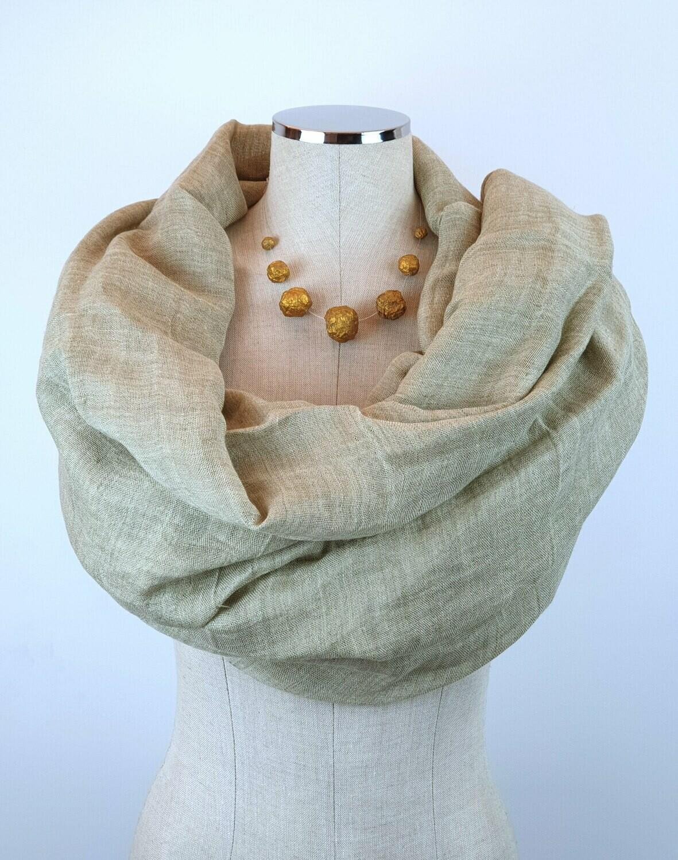 Linen Shawl: Olive Grey