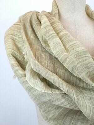 Linen Shawl: Striped Olive & Beige