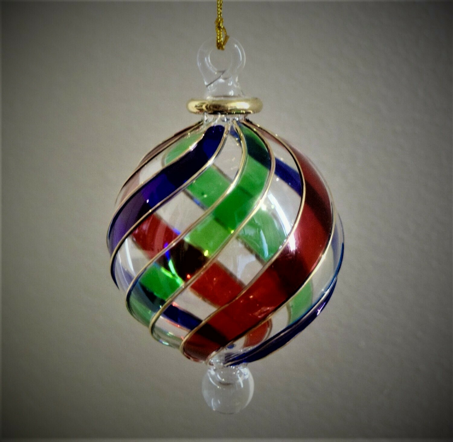 Twisted Multicolor Glass Ball Ornament