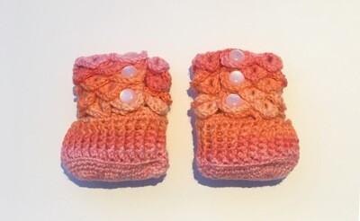 Baby Booties (Orange & Pink)