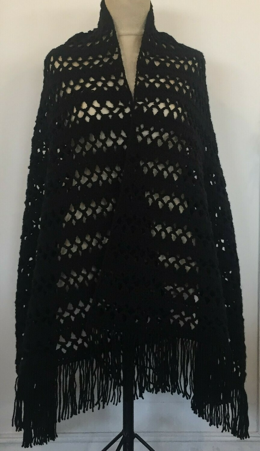 Black wool crochet shawl 70X180cm