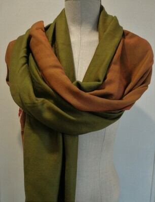 Doubleface Shawl Olive & Rust