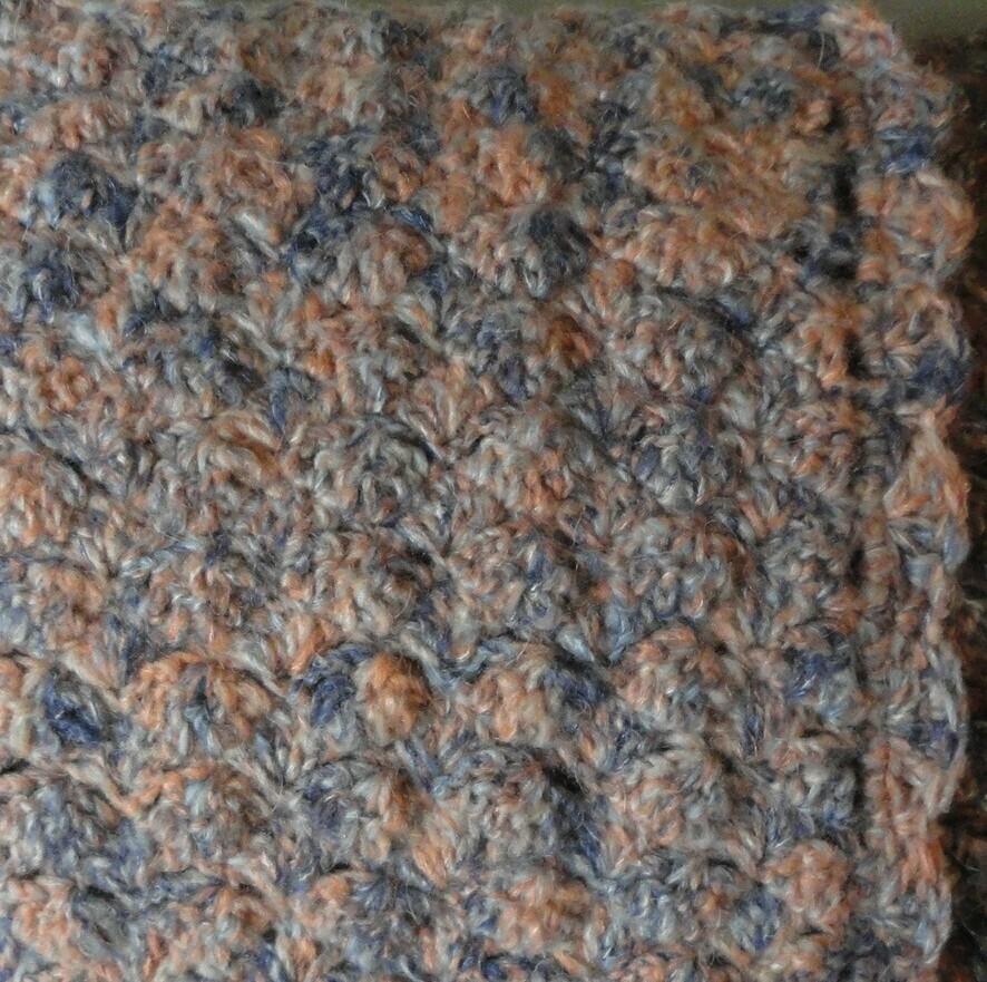 Mini Blanket: Blue, Salmon & Grey Mohair