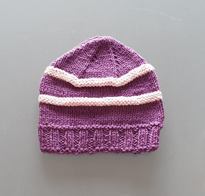 Knit Cotton Cap: Purple & Pink