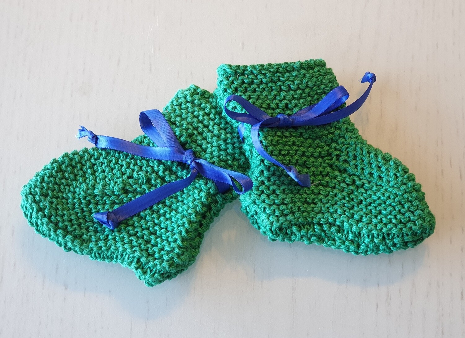 Baby Booties: Green with Blue Ribbon