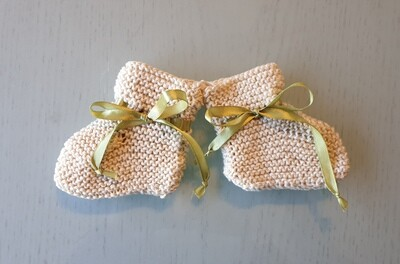 Baby Booties: Off White with Olive Green Ribbon