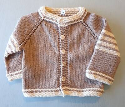 Light Brown & Cream Striped Wool Jacket (Medium)
