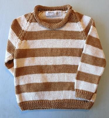 Caramel Brown & Cream Striped Pullover (Medium/Large)