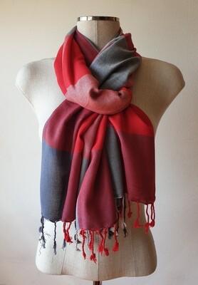 VC Red, White & Grey Shawl