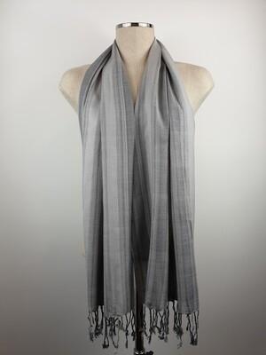Grey & Silver Wide Stripes Small Scarf