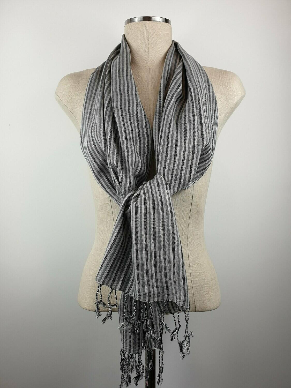 Grey & Silver Thin Stripes Small Scarf