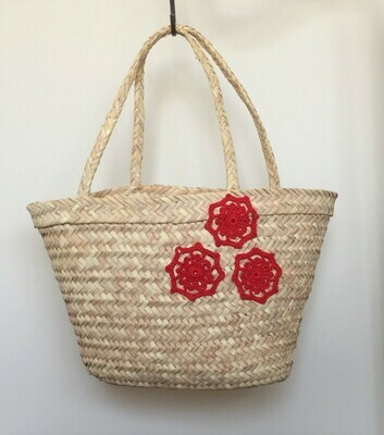 Bag; straw with red flowers
