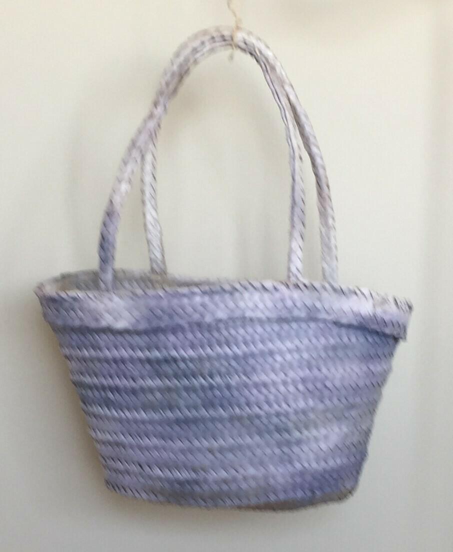 Bag; straw in light blue finish