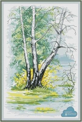 Birch Trees in Spring Cross Stitch Pattern PDF + XSD. Instant Download.