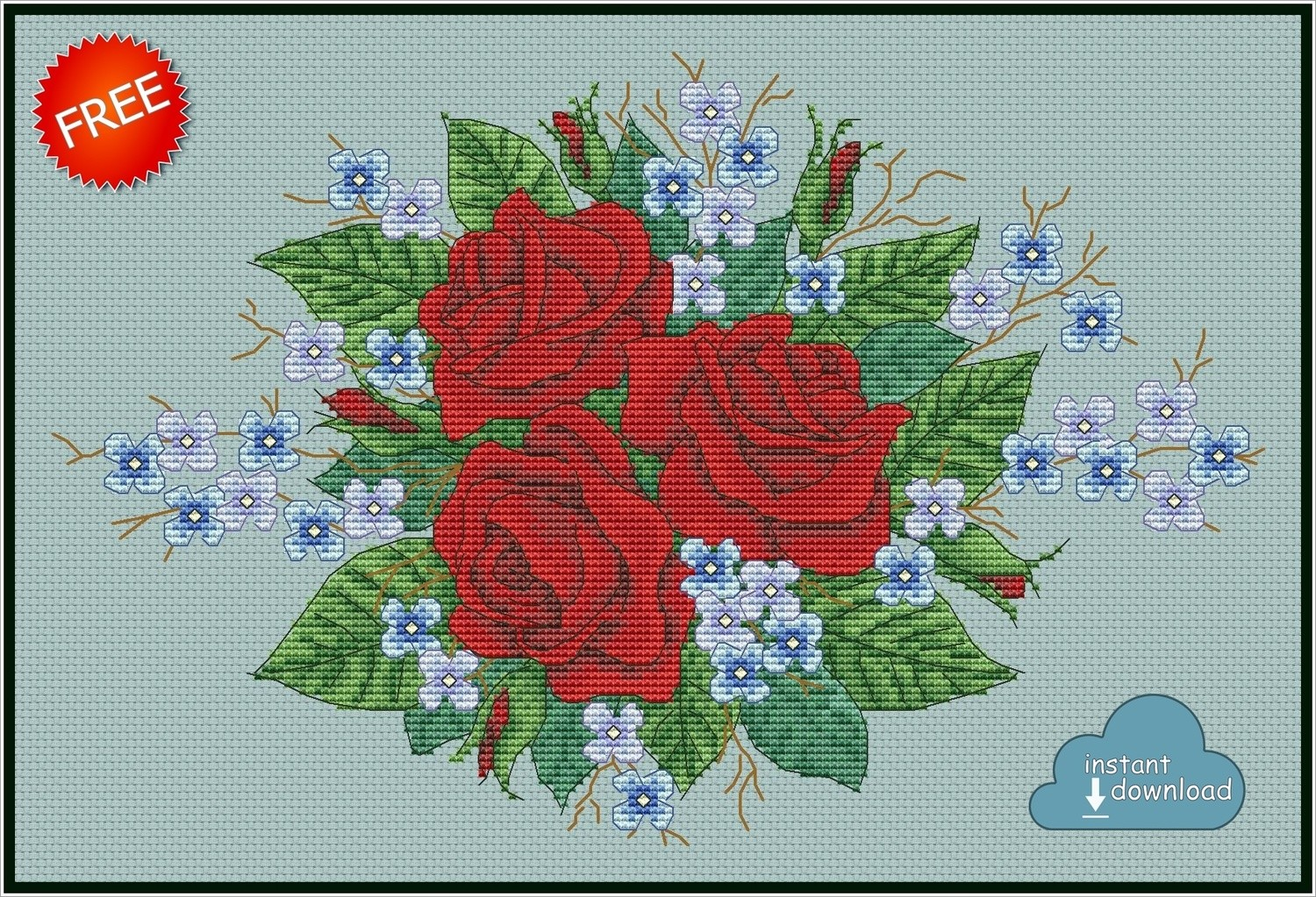 Roses and Violets Cross Stitch Pattern PDF + XSD. Instant Download. FREE