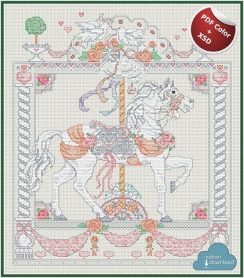 Carousel Horses June Cross Stitch Pattern PDF Color + XSD. Instant Download. Only 3 in stock!