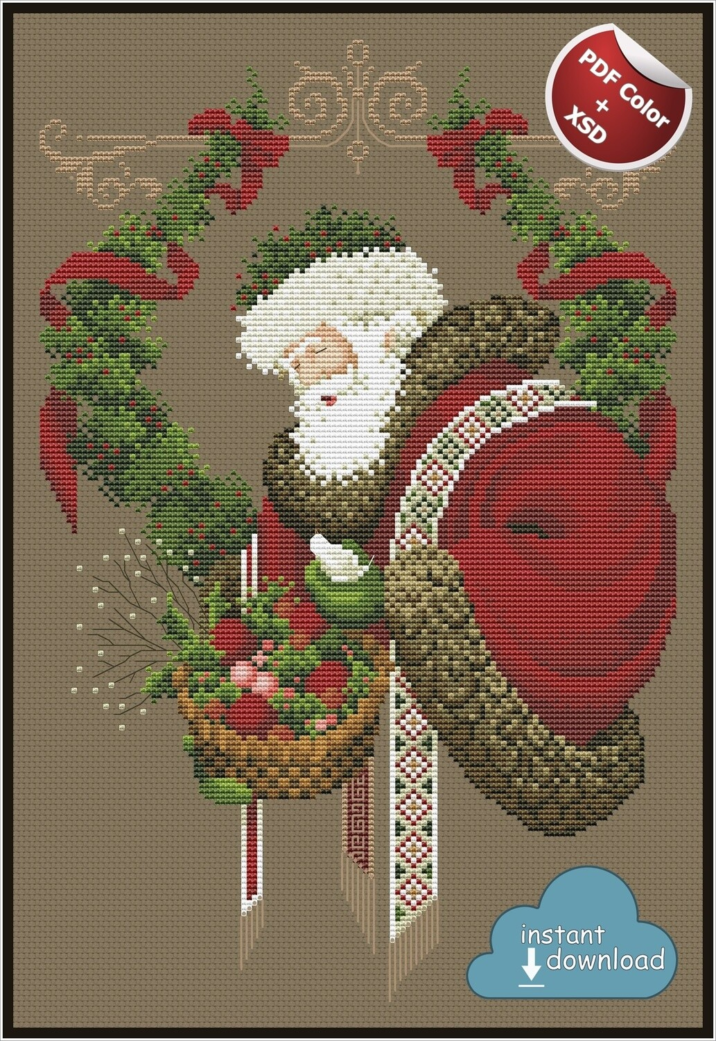 Gift of Peace Christmas Cross Stitch Pattern PDF + XSD. Instant Download. Only 5 in stock!
