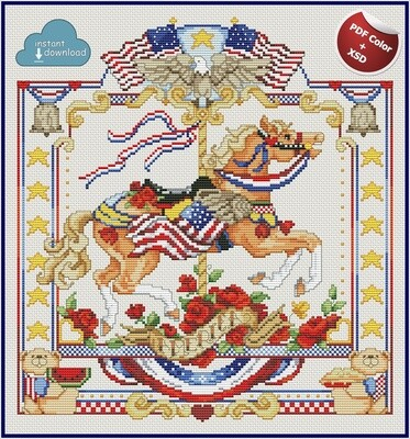 Carousel Horses July Cross Stitch Pattern PDF Color + XSD. Instant Download. Only 2 in stock!