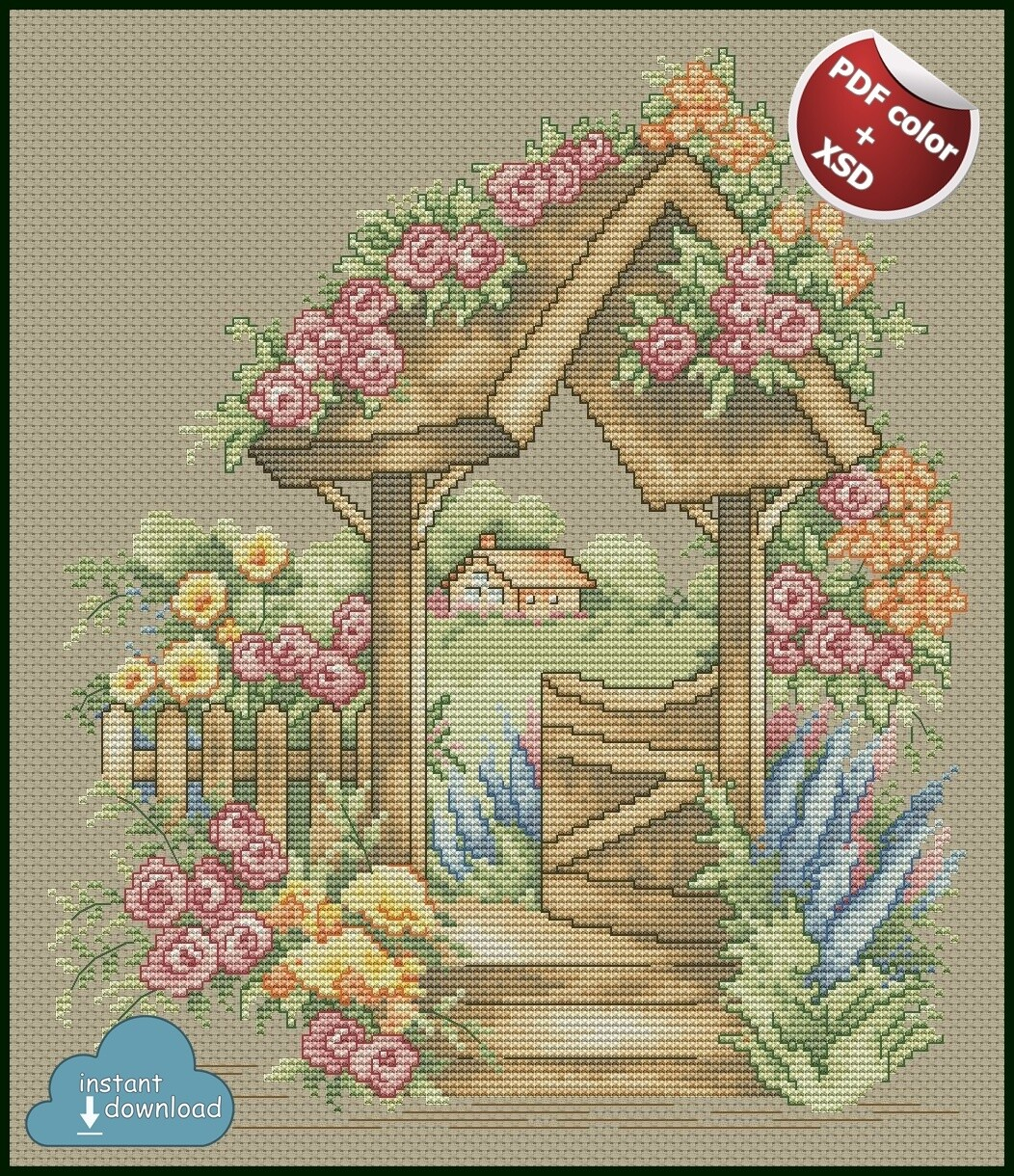 Rose Garden Cross Stitch Pattern PDF + XSD. Instant Download. Only 1 in stock!