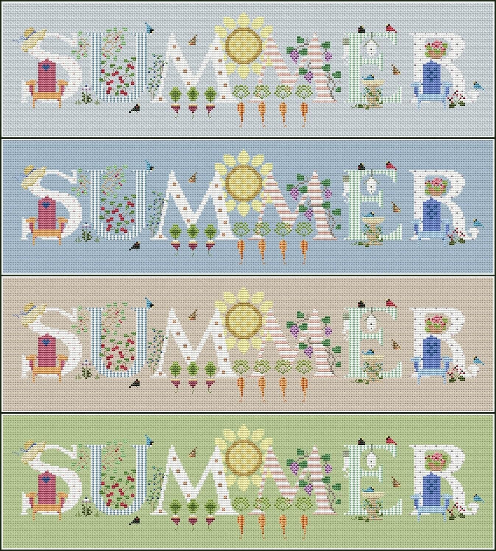 Summer Cross Stitch Pattern PDF + XSD. Instant Download. FREE