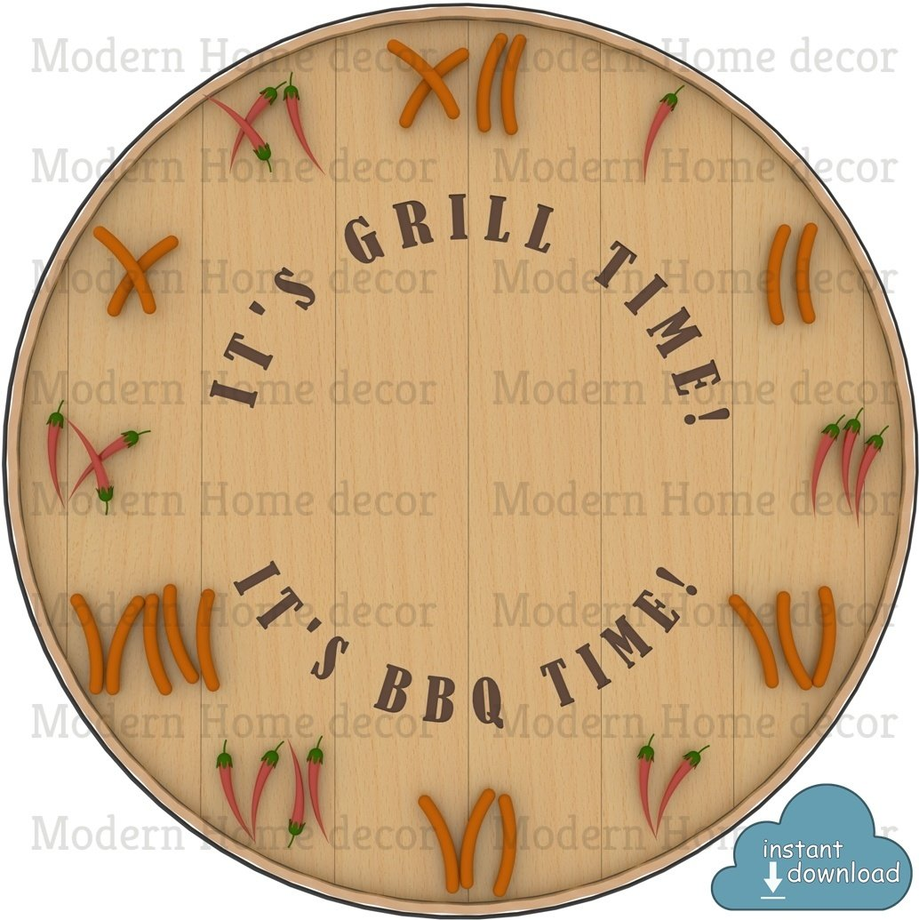 """""""It's Grill Time! It's BBQ Time!"""" Printable DIY Clock Face. Instant Download."""