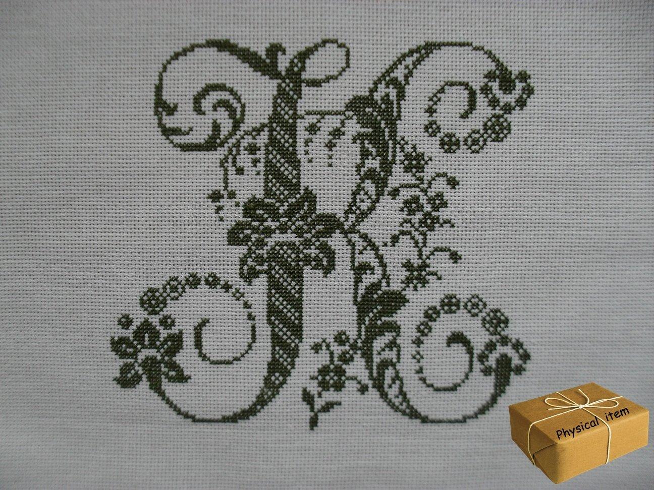 Antique Letter K Monogram. Handmade Embroidery. FINISHED