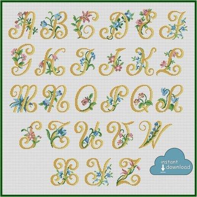 Alphabet Monogram Cross Stitch Pattern PDF + XSD. Flowers ABC Cross Stitch Chart PDF. Instant Download