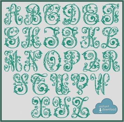 Antique Alphabet Monogram Cross Stitch Pattern PDF + XSD. Floral ABC Cross Stitch Chart PDF. Instant Download