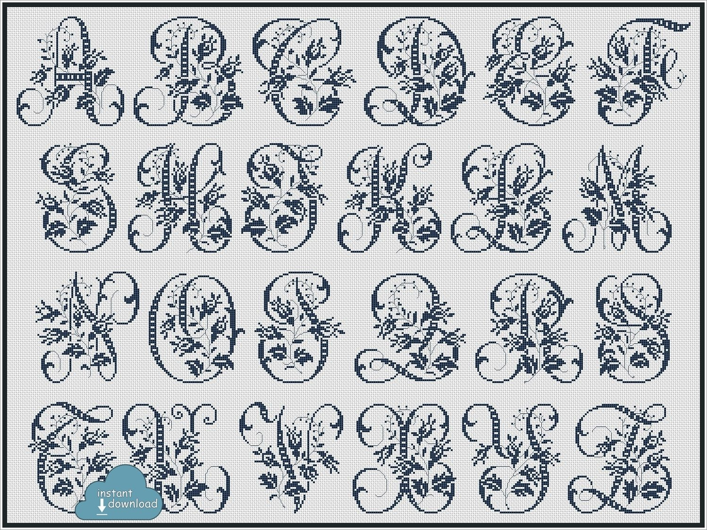 Antique Alphabet Monogram Cross Stitch Pattern PDF + XSD. Wild Roses ABC Cross Stitch Chart PDF. Instant Download