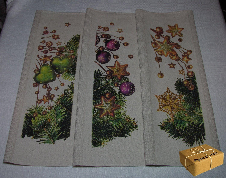 """""""Christmas Towels Set #3"""". Kitchen Towels Set (3 pieces)"""