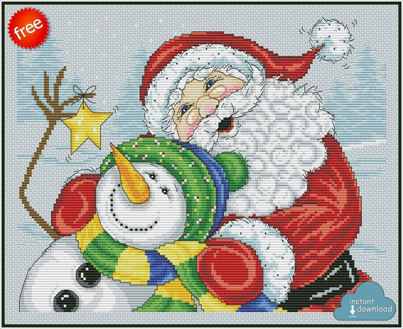 Merry Christmas Santa Snowman Cross Stitch Pattern PDF + XSD. Instant Download. Free
