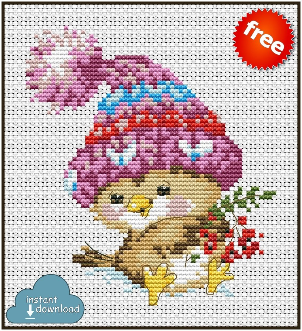 Winter Bird Cross Stitch Pattern PDF + XSD. Instant Download. FREE
