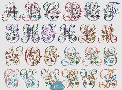 Antique Alphabet Monogram Multi-Color Cross Stitch Pattern PDF + XSD. Wild Roses ABC Cross Stitch Chart PDF. Instant Download