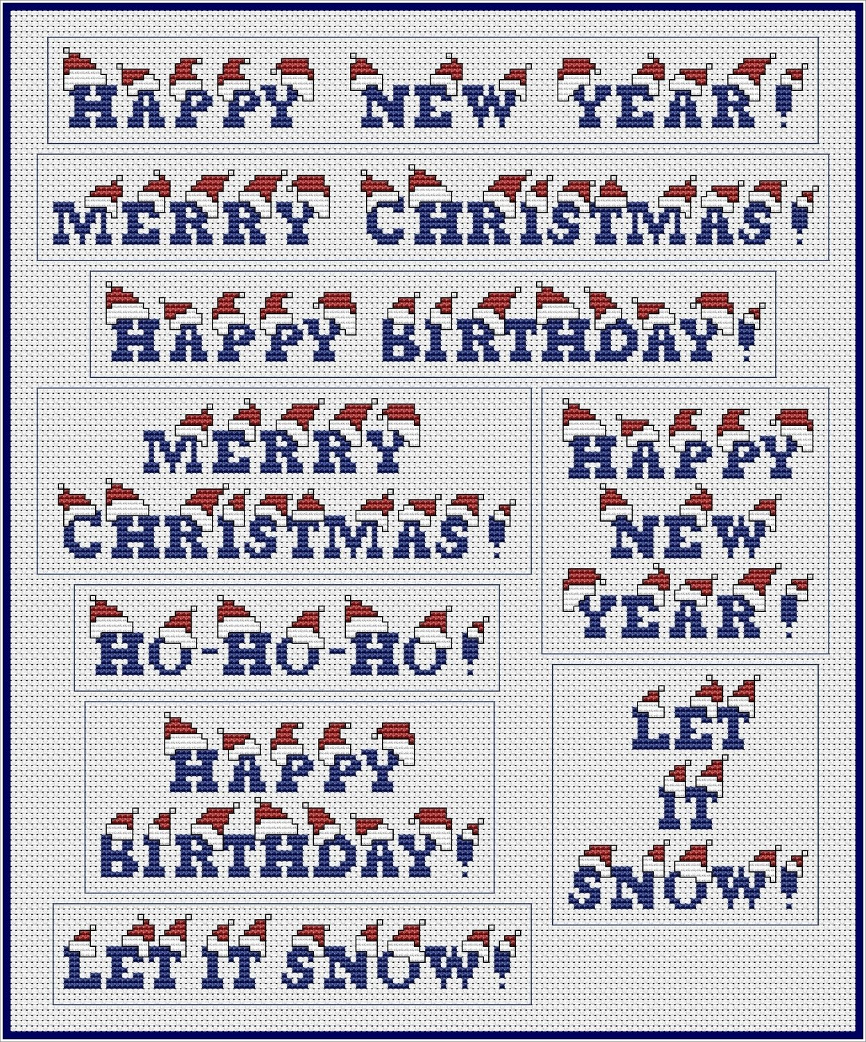 Christmas & New Year Hats Greetings Set Cross Stitch Pattern PDF. Instant Download.
